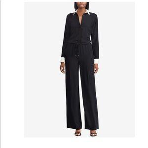 RALPH LAUREN Womens Black Long Sleeve Jumpsuit 10